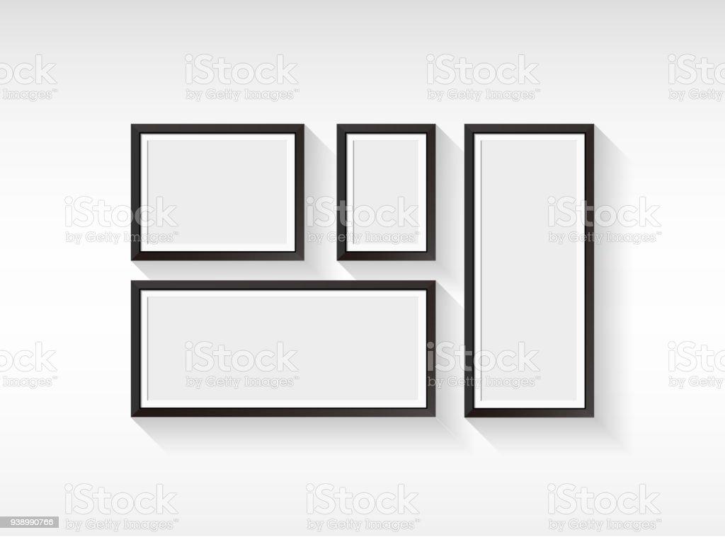 Cadre d'image vide Vector définie isolé sur fond blanc - Illustration vectorielle