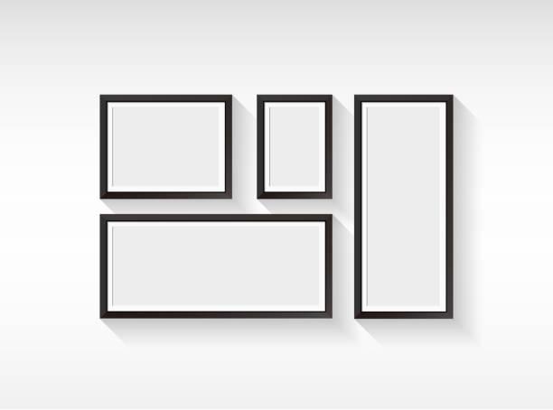 ilustraciones, imágenes clip art, dibujos animados e iconos de stock de marco en blanco vector conjunto aislado en fondo blanco - bordes de marcos de fotografías
