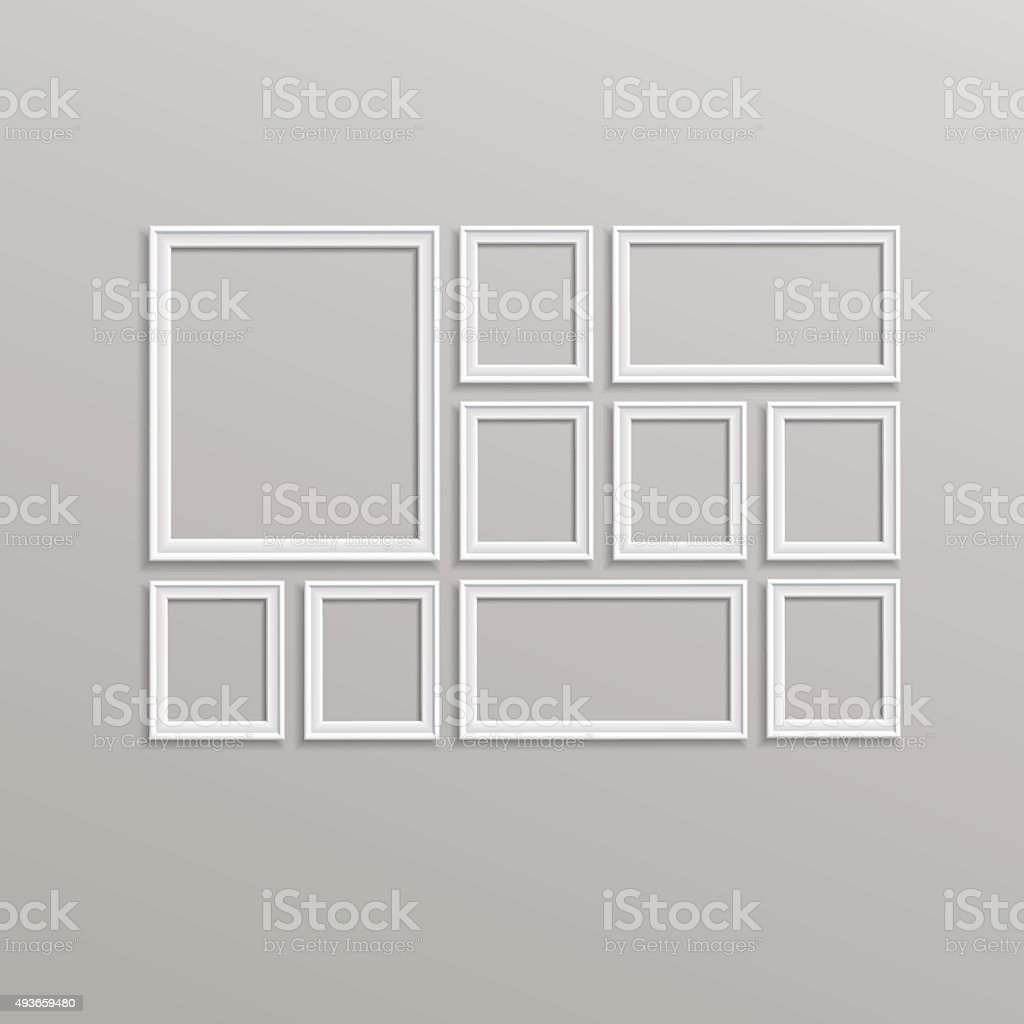 Vector Blank Picture Frame Template Composition Set Isolated vector art illustration