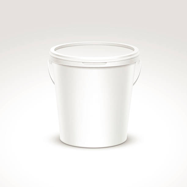 Vector Blank Plastic Bucket Container Packaging Isolated on White Background vector art illustration