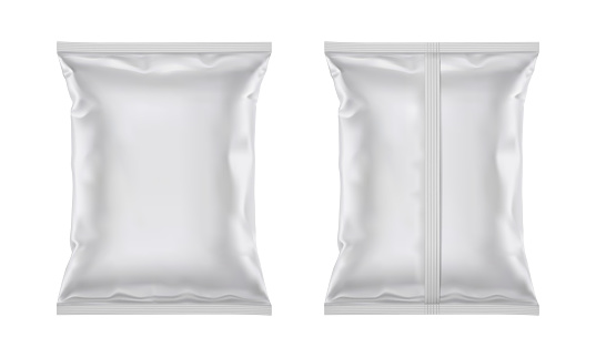 Vector blank plastic foil bag for packaging design