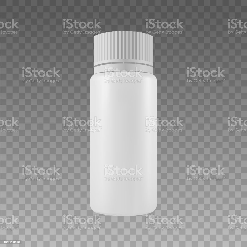 Vector Blank Plastic Packaging Bottles with Cap for Cosmetics,...