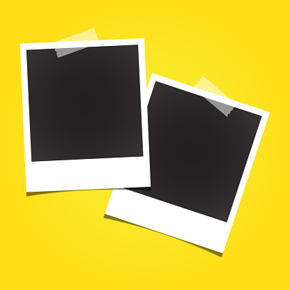 Vector blank polaroid photo frames. Yellow background and white sticker.