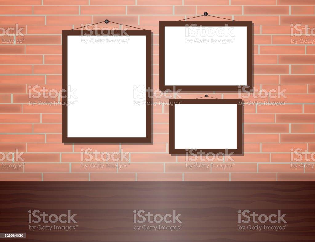 Vector blank poster on the red brick wall realistic mocku - ilustração de arte vetorial