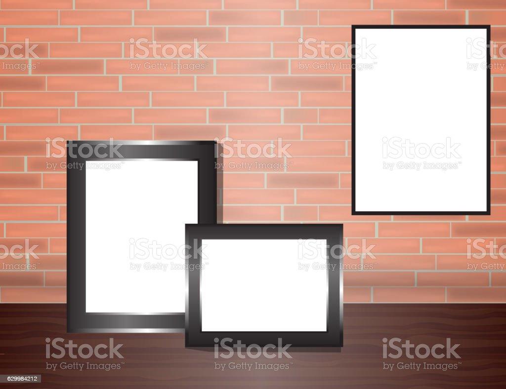 Vector blank poster on the red brick wall realistic mockup - ilustração de arte vetorial