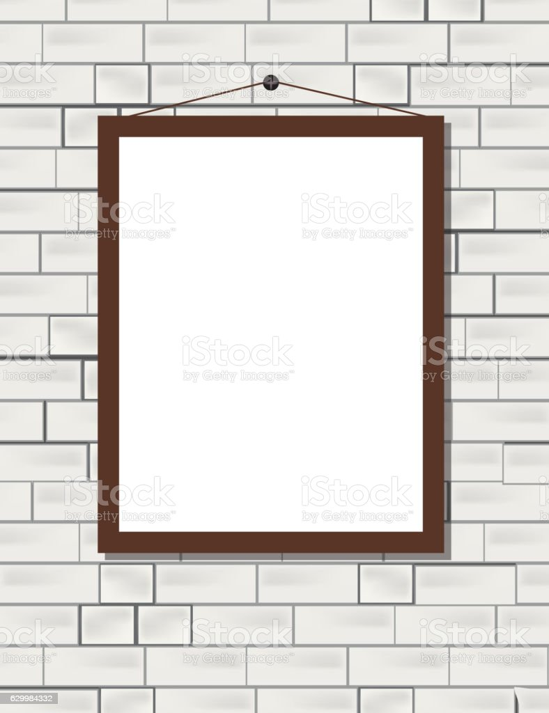 Vector blank poster on the white brick wall realistic mockup - ilustração de arte vetorial