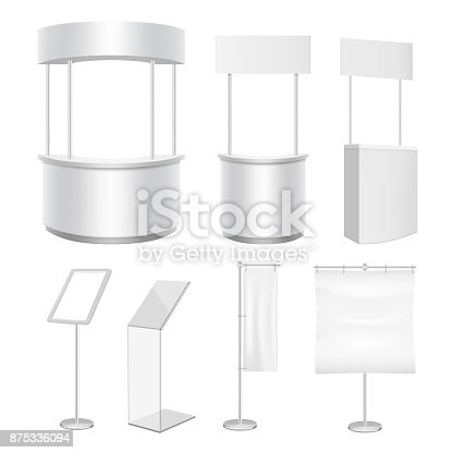 Vector blank white promotion counter and display stand, flag banner mockup set.