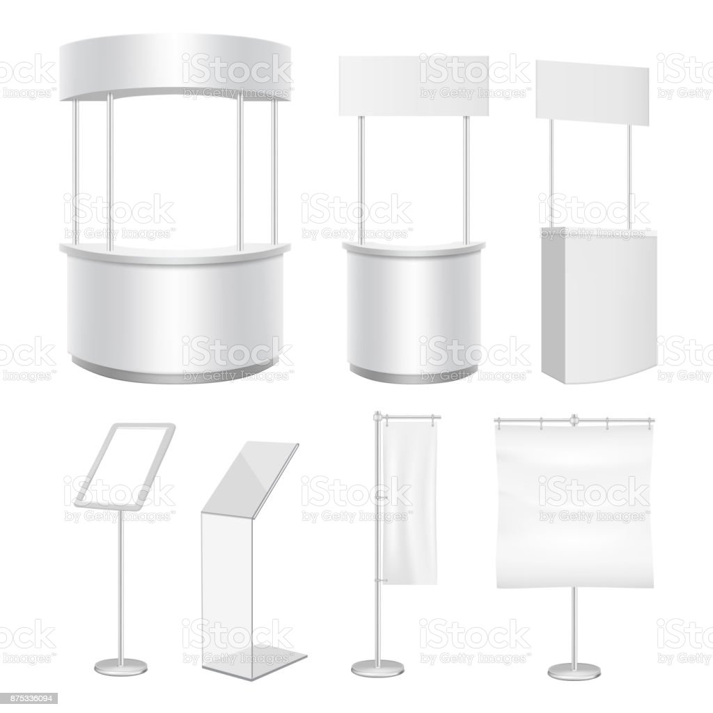 Vector blank promo counter display stand flag banner mockup set vector art illustration