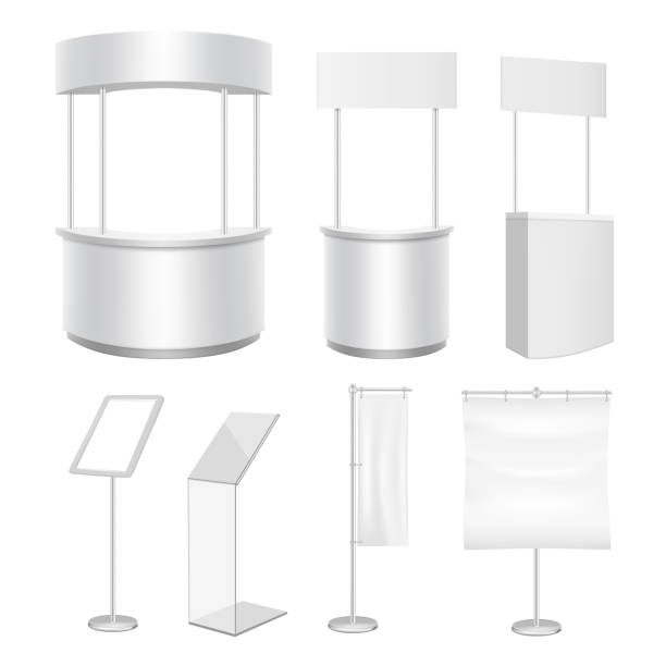 Vector blank promo counter display stand flag banner mockup set vector art illustration