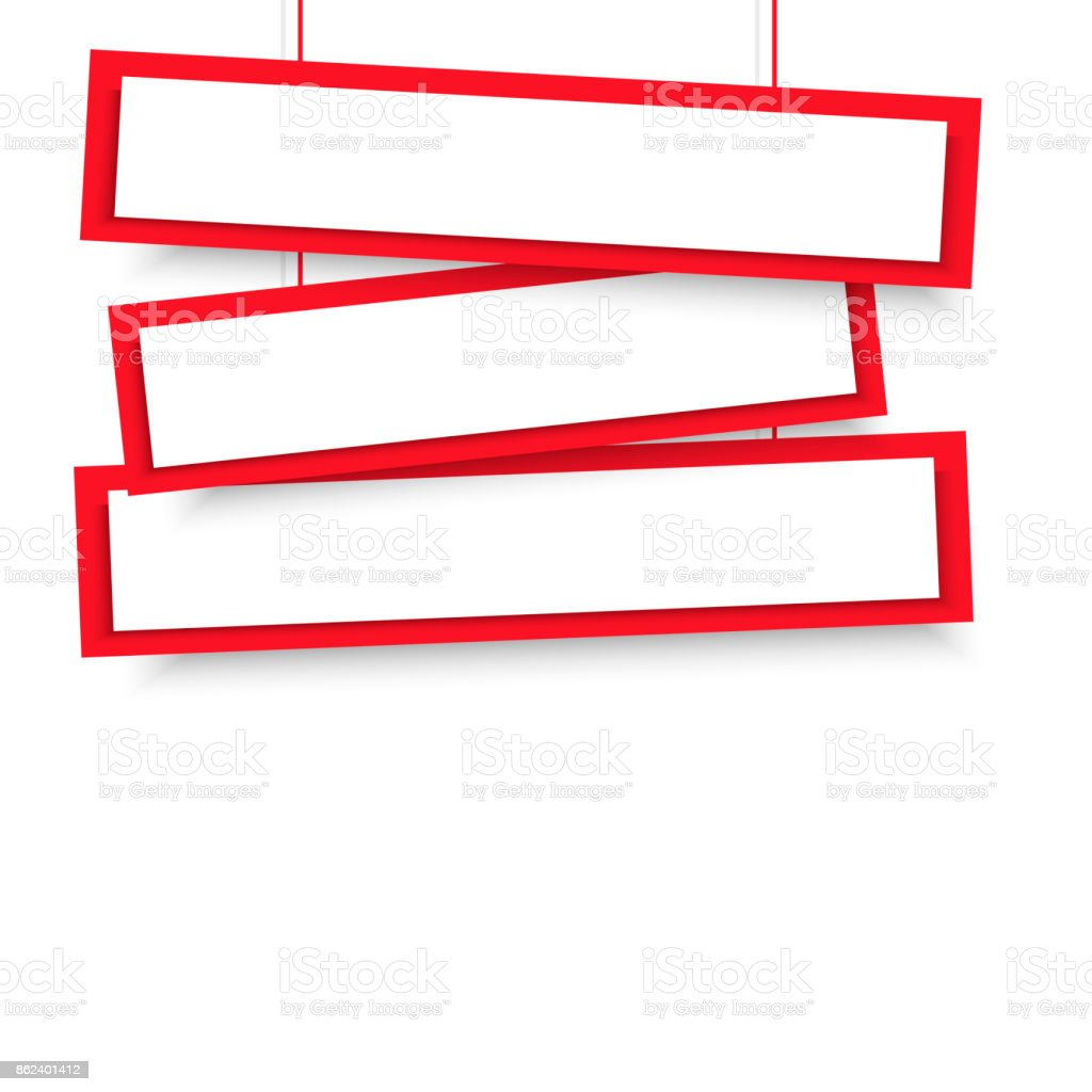 Vector Blank Red 3 Line Wonky Hanging Banners Vector ...