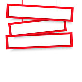 Vector blank red 3 Line wonky hanging banners. Vector illustration.