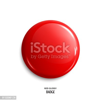 istock Vector blank red glossy badge or web button. Vector. 915398126