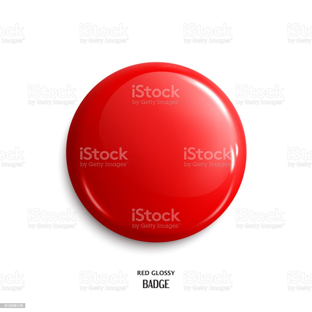 Vector blank red glossy badge or web button. Vector. vector art illustration
