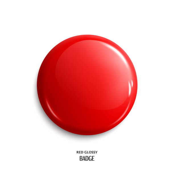 stockillustraties, clipart, cartoons en iconen met vector leeg rode glanzende badge of web knop. vector. - rood