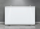 Vector realistic roll up banner, horizontal stand, blank billboard for exhibition and business presentations, isolated on gray background. Mockup with white board, roll-up display for commercial ads