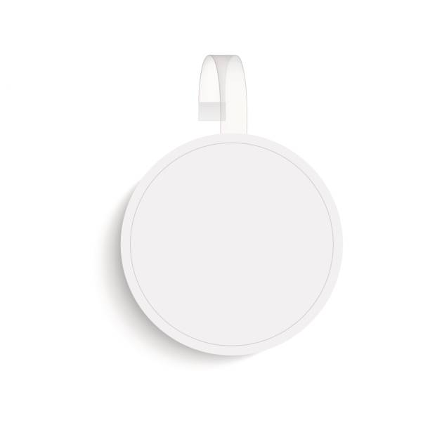 vector blank round wobbler with transparent strip - dotykać stock illustrations