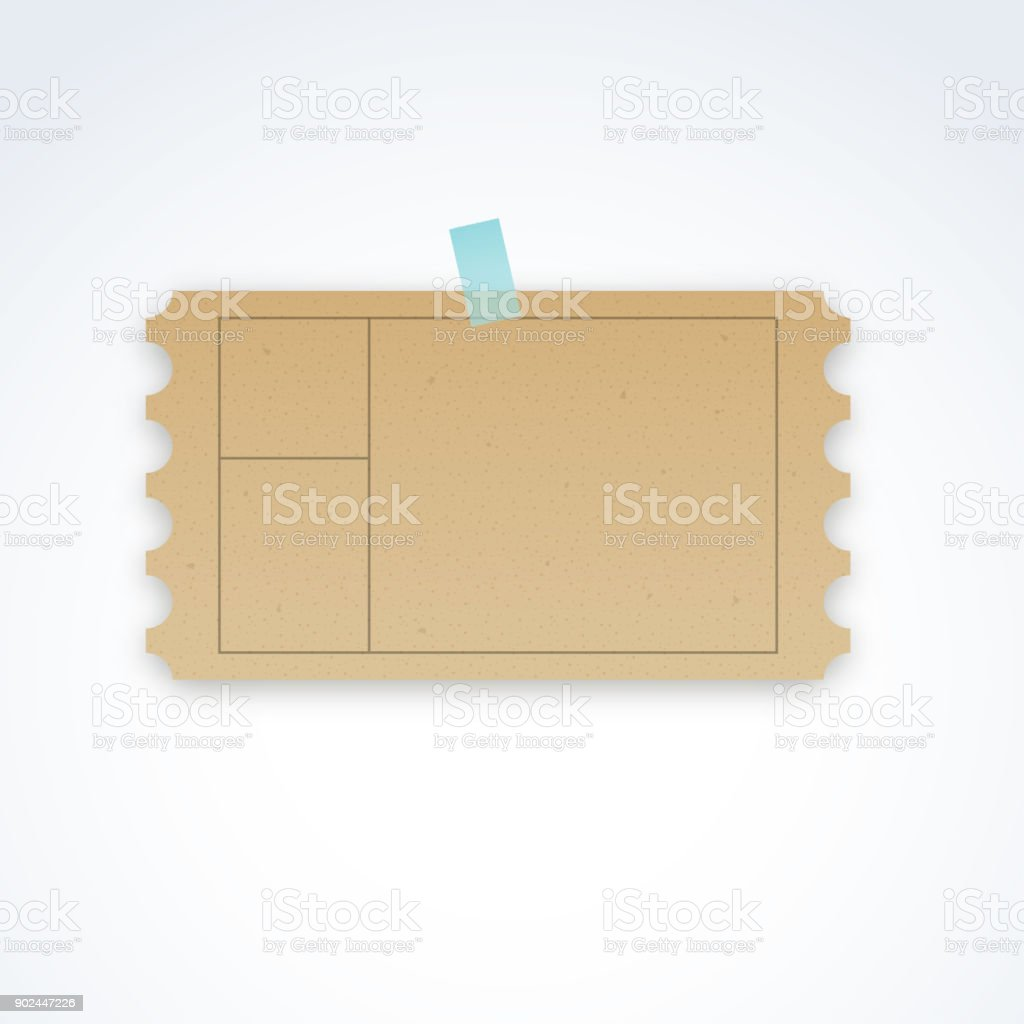 Vector Blank Ticket Template With Cardboard Texture And Perforated Edges  Royalty Free Vector Blank Ticket  Bus Ticket Template