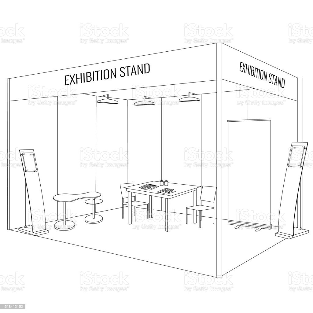 Vector Blank trade exhibition booth stand. Trendy outline style vector art illustration