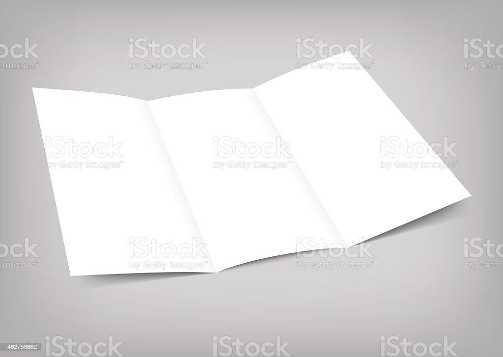Vector blank tri fold paper flyer on gray background vector art illustration