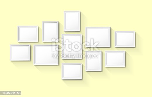 Vector blank vintage picture frames on wall background
