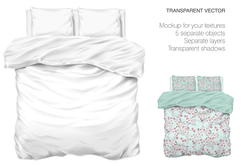 Vector blank white bed mock up for your design and fabric textures. Pillows and blanket with transparent shadows. View from the top