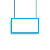 Vector blank white blue title banner hanging design. Vector illustration.