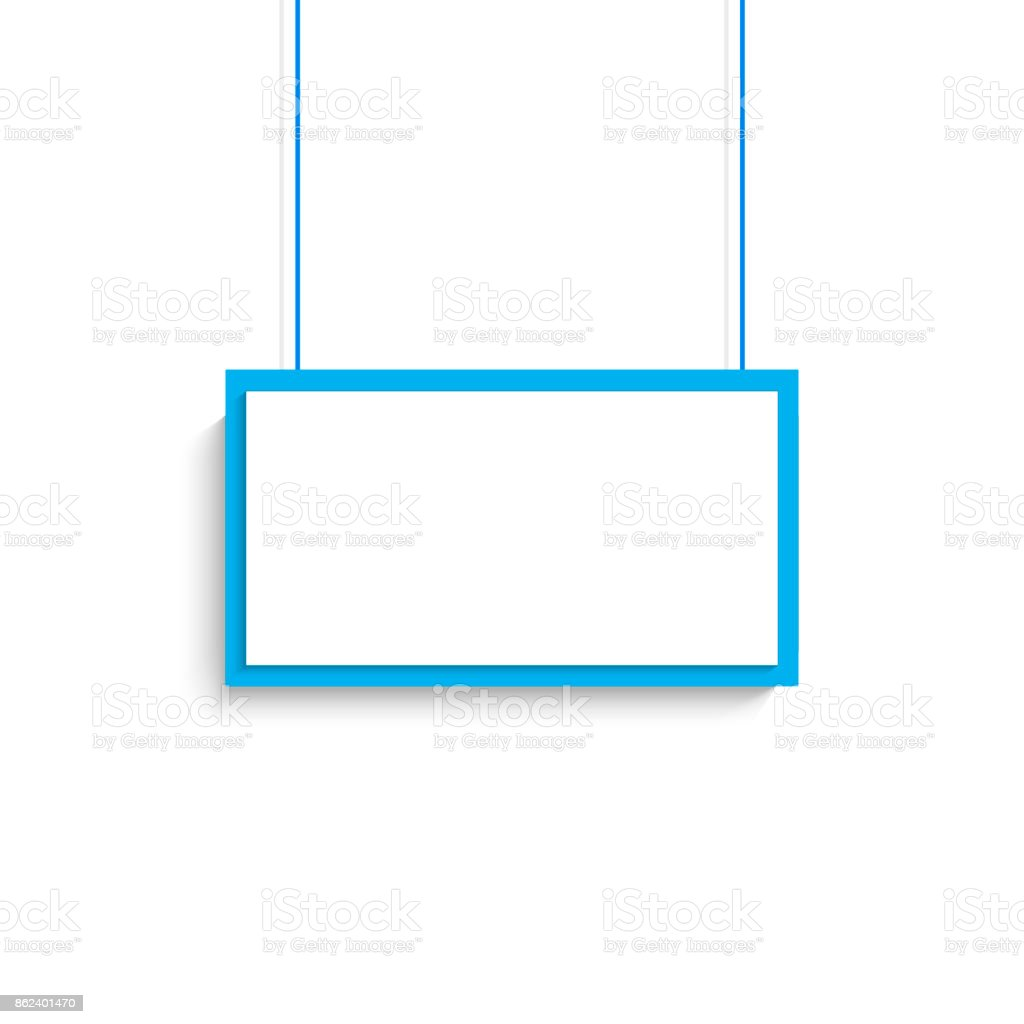 Vector blank white blue title banner hanging design. Vector illustration. vector art illustration