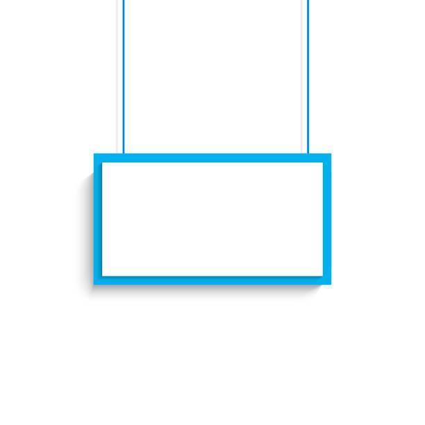 vector blank white blue title banner hanging design. vector illustration. - wisieć stock illustrations