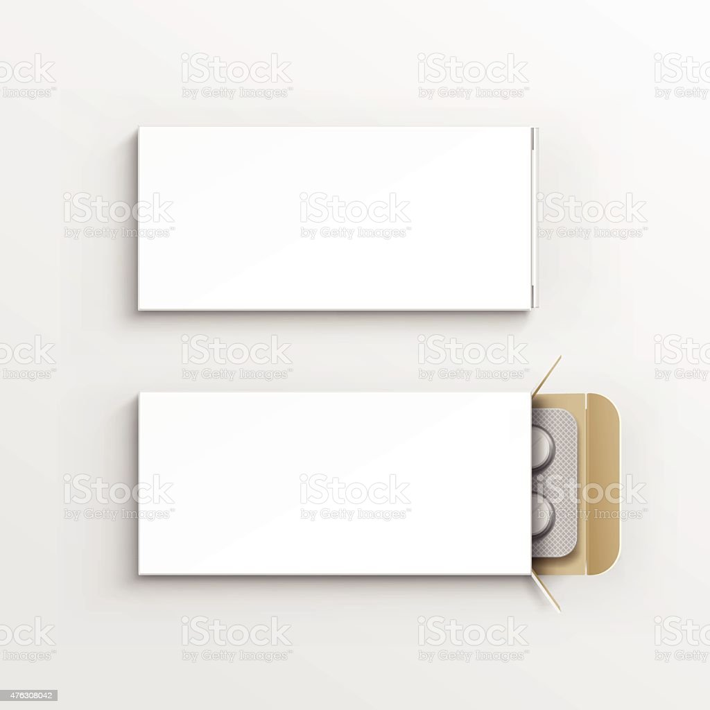 Vector Blank White Package Box for Blister of Pills Isolated vector art illustration