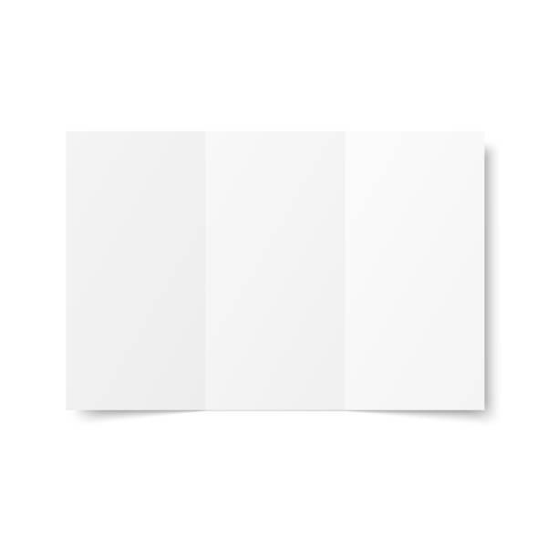 vektor leere weiße trifold broschüre geöffnet auf weißem hintergrund. - menu card stock-grafiken, -clipart, -cartoons und -symbole