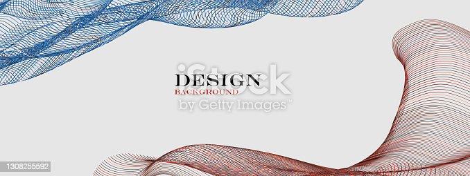 istock Vector blend wave line pattern technology backgrounds 1308255592