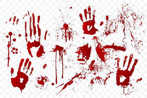 Vector blood stain and bloody handprints isolated on transparent background. Red paint splashes. Crime scene. Vampire bite. Halloween decoration element. Horror backdrop. Vector illustration.