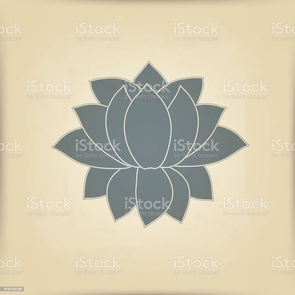 Vector Blossoming Lotus Flower Is Symmetrical Symbol On A Background