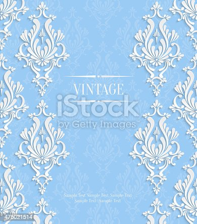 istock Vector Blue 3d Vintage Invitation Card with Floral Damask Pattern 475021514