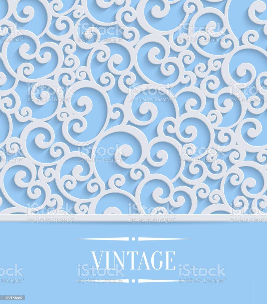 Vector blue 3d vintage invitation card with floral swirl pattern vector blue 3d vintage invitation card with floral swirl pattern royalty free vector blue 3d stopboris Images