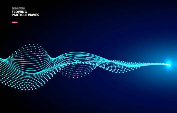 Vektorblauer Hintergrund, fließende Partikelkurve – Vektorgrafik