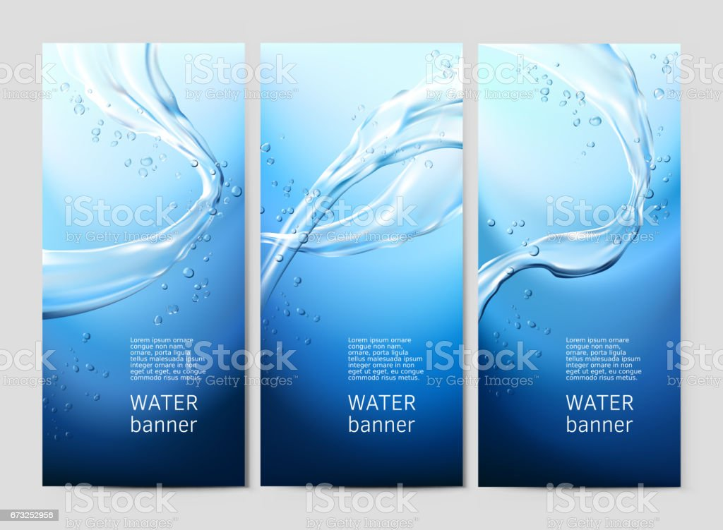 Vector blue background with flows and drops of crystal clear water vector art illustration