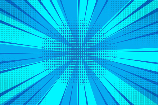 Vector blue background with rays. Abstract burst of blue sunbeams. Blue half-tones in the form of rays. Stock photo.