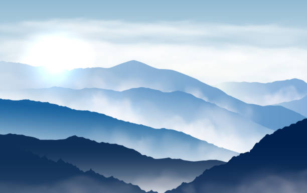 Vector blue beautiful foggy mountains with sun and clouds in the sky Vector blue beautiful foggy mountains with sun and clouds in the sky mountains in mist stock illustrations