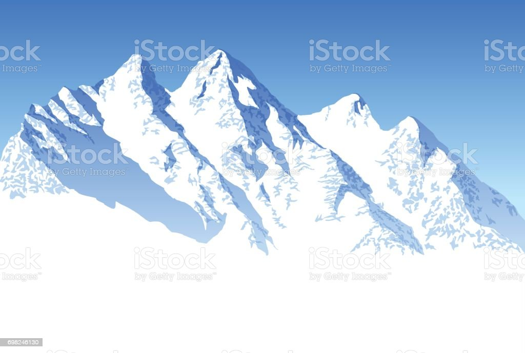 vector blue beautiful mountains vector art illustration