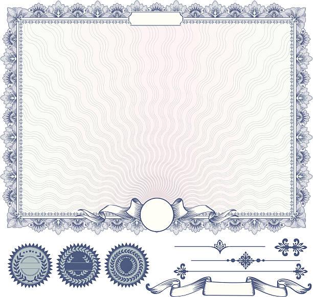 ilustraciones, imágenes clip art, dibujos animados e iconos de stock de azul vector de plantilla de certificado o un cupón con otros elementos de diseño - marcos de certificados y premios
