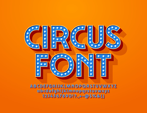 Vector blue Circus Font with electric light bulbs. Glowing lamp Alphabet