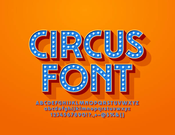 vector blue circus font with electric light bulbs. glowing lamp alphabet - tradycyjny festiwal stock illustrations