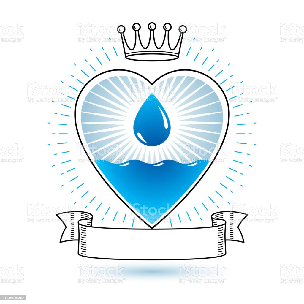 Vector Blue Clear Water Drop Sign For Use As Marketing Design Symbol