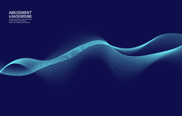 Vector blue curve particle background vector art illustration