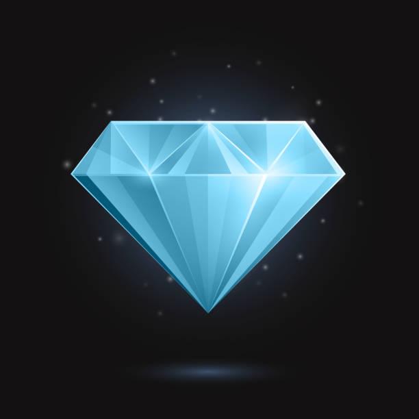 Vector Blue Diamond or Gemstone vector art illustration