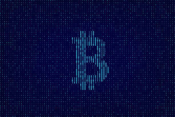 stockillustraties, clipart, cartoons en iconen met vector blauw dual code achtergrond met bitcoin teken. - bitcoin