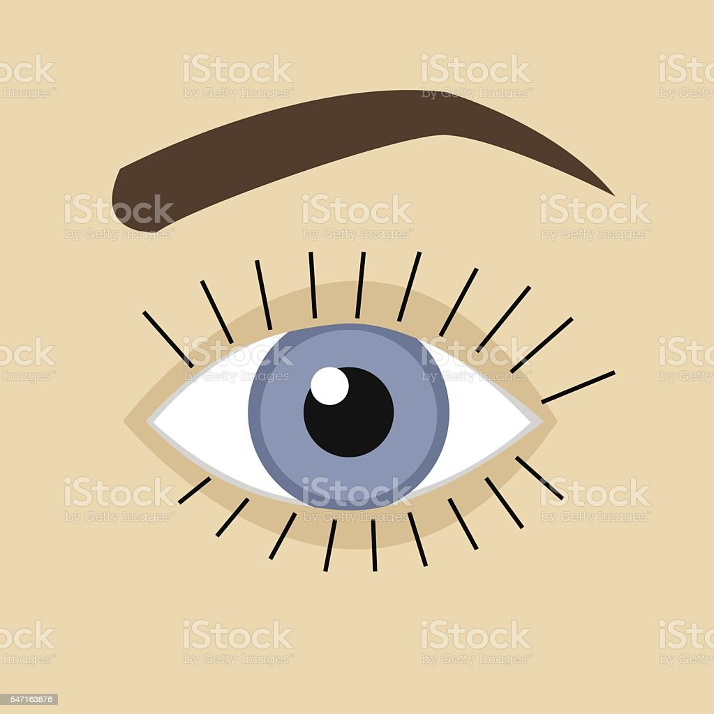 Vector blue eye flat design vector art illustration