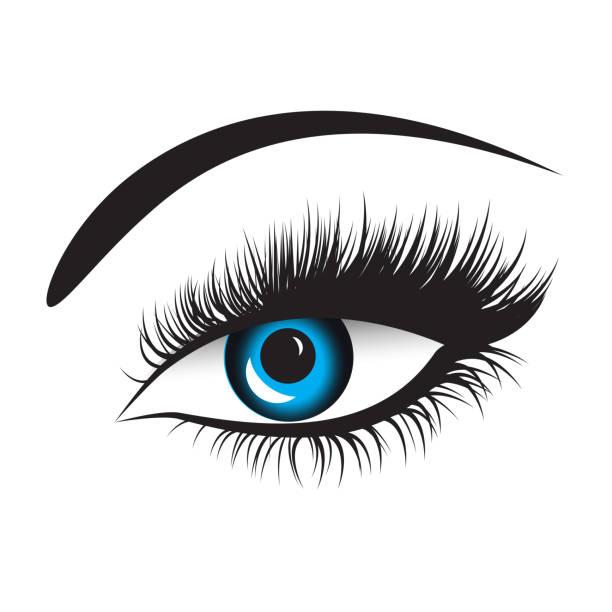 長睫毛的向量藍色眼睛 - 睫毛 幅插畫檔、美工圖案、卡通及圖標