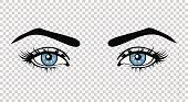 Vector blue female eyes with long lashes and make up